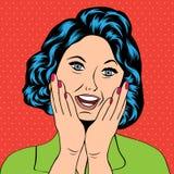 Illustrazione di Pop art di una donna di risata Fotografie Stock Libere da Diritti