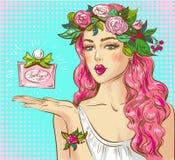 Illustrazione di Pop art di vettore del profumo di pubblicità della donna illustrazione vettoriale