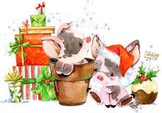 Illustrazione di porcellino del fumetto dell'acquerello Fondo disegnato a mano di vacanza invernale Fotografia Stock