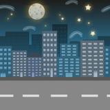 Illustrazione di posizione della città di notte Fotografie Stock Libere da Diritti