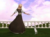 Illustrazione di principessa Playing With Puppy Fotografia Stock