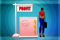 illustrazione di profitto della donna 3D Immagini Stock
