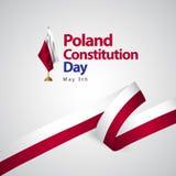 Illustrazione di progettazione del modello di vettore della bandiera di giorno di costituzione della Polonia royalty illustrazione gratis