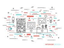Illustrazione di progettazione del salone moderno del progettista Fotografia Stock Libera da Diritti