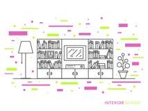 Illustrazione di progettazione dell'interno moderno del salone del progettista Fotografie Stock