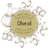 Illustrazione di progettazione delle olive Bottiglia e rami di ulivo di olio su fondo bianco Immagini Stock