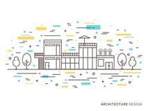 Illustrazione di progettazione di architettura della casa moderna Fotografia Stock Libera da Diritti