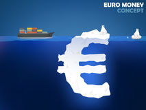Illustrazione di progettazione grafica di euro simbolo dei soldi come iceberg nell'oceano Fotografia Stock