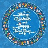 Illustrazione di progettazione piana del buon anno e di Natale postcar Immagine Stock Libera da Diritti