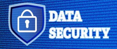 Illustrazione di protezione dei dati con il codice binario d'ardore ed il lucchetto Fotografia Stock