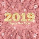 Illustrazione di punto di vista superiore 3D di Rose Gold Happy New Year 2019 royalty illustrazione gratis