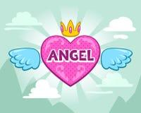 Illustrazione di ragazza sveglia con il cuore di angelo Fotografie Stock Libere da Diritti