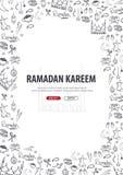 Illustrazione di Ramadan Kareem con il fondo di scarabocchio di tiraggio della mano per la celebrazione del festival di comunità  royalty illustrazione gratis