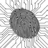 Illustrazione di ricerca dell'impronta digitale Concetto di obbligazione Identificazione biometrica Illustrazione di vettore Immagini Stock Libere da Diritti