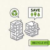 Illustrazione di riciclaggio di carta di vettore illustrazione di stock