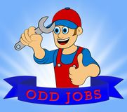Illustrazione di riparazione 3d di Odd Jobs Man Representing House Immagine Stock