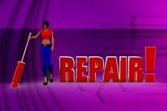 illustrazione di riparazione della donna 3D Immagini Stock Libere da Diritti