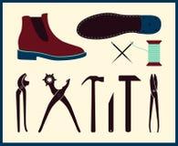 Illustrazione di riparazione della scarpa di vettore Insieme degli strumenti del calzolaio Calzature fatte a mano del calzolaio Immagine Stock