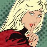 Illustrazione di riserva La gente nel retro Pop art di stile e pubblicità dell'annata Le richieste della ragazza per silenzio Fotografia Stock Libera da Diritti