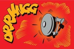 Illustrazione di riserva Obietti nel retro Pop art di stile e pubblicità dell'annata Dispositivo di allarme antincendio illustrazione vettoriale