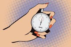 Illustrazione di riserva Stile di Pop art e di vecchi fumetti Cronometro a disposizione Fotografia Stock