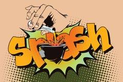 Illustrazione di riserva Stile di Pop art e di vecchi fumetti Liquido di versamento della mano da una provetta Immagini Stock Libere da Diritti