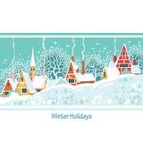 Illustrazione di riserva di vettore del giorno di inverno di Natale in un piccolo rimorchio illustrazione di stock
