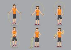 Illustrazione di salto del carattere di vettore della donna sportiva Fotografia Stock