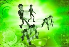 illustrazione di salto della barriera dell'uomo 3d Immagine Stock