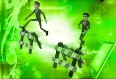 illustrazione di salto della barriera dell'uomo 3d Fotografia Stock Libera da Diritti