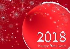 Illustrazione 2018 di saluto di progettazione di iscrizione del buon anno Fondo bianco rosso di festa di inverno con neve, i fioc illustrazione di stock