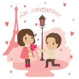 Illustrazione di San Valentino: un uomo dà i fiori ad un wom Immagine Stock Libera da Diritti
