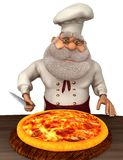 Illustrazione di Santa Claus Cook 3D nel fumetto Stule Isolated On White Fotografia Stock