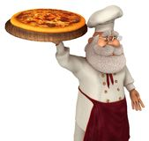 Illustrazione di Santa Claus Cook 3D nel fumetto Stule Isolated On White Fotografie Stock