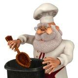 Illustrazione di Santa Claus Cook 3D nel fumetto Stule Isolated On White Fotografia Stock Libera da Diritti
