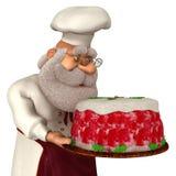 Illustrazione di Santa Claus Cook 3D nel fumetto Stule Isolated On White Immagine Stock Libera da Diritti