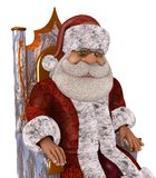 Illustrazione di Santa Claus 3D nel fumetto Stule Isolated On White Fotografia Stock