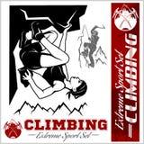Illustrazione di scalata di montagna e logos, emblemi, siluette, elementi di progettazione Immagine Stock Libera da Diritti