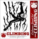 Illustrazione di scalata di montagna e logos, emblemi, siluette, elementi di progettazione Fotografia Stock