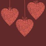 Illustrazione di scarabocchio di cuore di vimini fatto a mano Immagine Stock Libera da Diritti