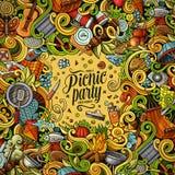 Illustrazione di scarabocchio di picnic di vettore del fumetto Fotografia Stock
