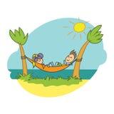 Illustrazione di scarabocchio, vacanza della spiaggia Immagini Stock