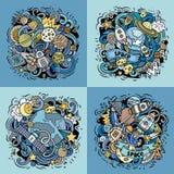 Illustrazione di scarabocchio di vettore del fumetto dello spazio Immagine Stock