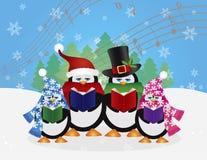 Illustrazione di scena della neve dei Carolers di Natale dei pinguini Fotografie Stock Libere da Diritti