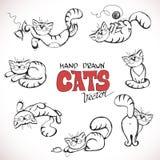 Illustrazione di schizzo dei gatti allegri Fotografia Stock Libera da Diritti