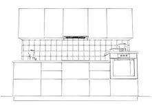 Illustrazione di schizzo di contorno della cucina contemporanea in bianco e nero Fotografia Stock Libera da Diritti