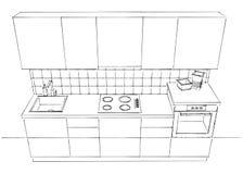 Illustrazione di schizzo di contorno della cucina moderna in bianco e nero Fotografia Stock Libera da Diritti