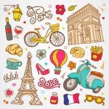 Illustrazione di schizzo di Parigi, insieme degli elementi francesi di scarabocchio disegnato a mano di vettore, raccolta di simb Immagine Stock