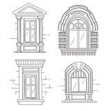 Illustrazione di schizzo di retro finestre Fotografie Stock