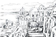 Illustrazione di schizzo la città greca Fotografie Stock Libere da Diritti